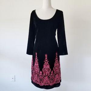 Ronni Nicole Velvet Paisley Embroidered Dress 12
